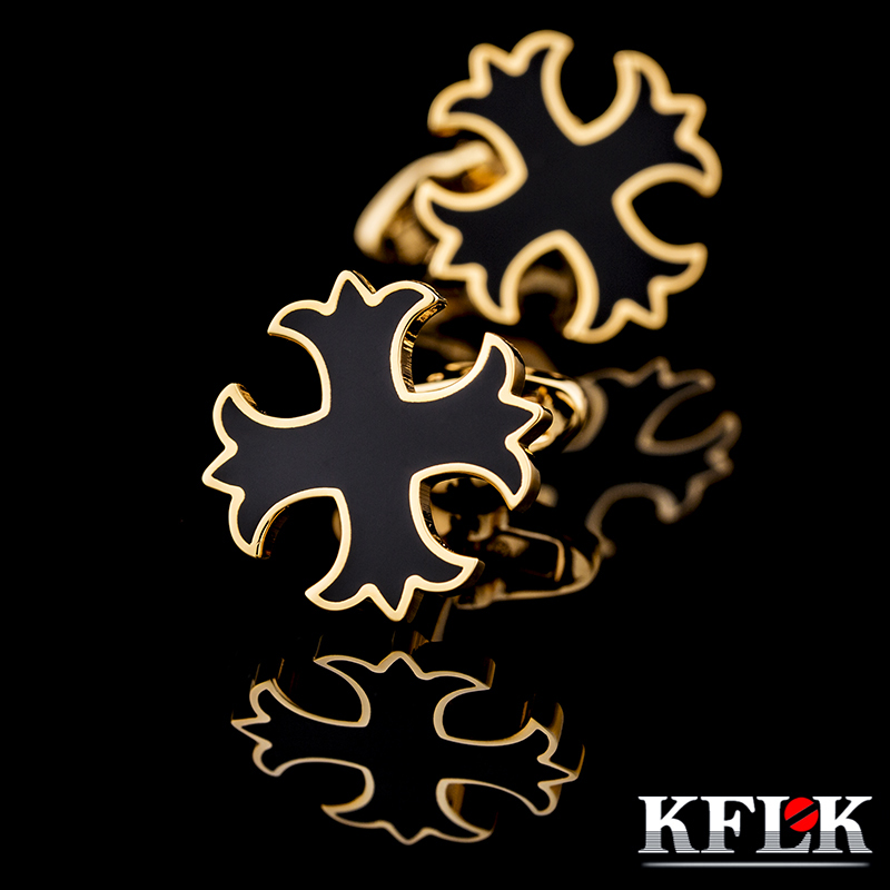 KFLK for men present French shirt sleeve shirt cuff button nailing luxury jewelry gold cufflinks 2019 new products free shipping