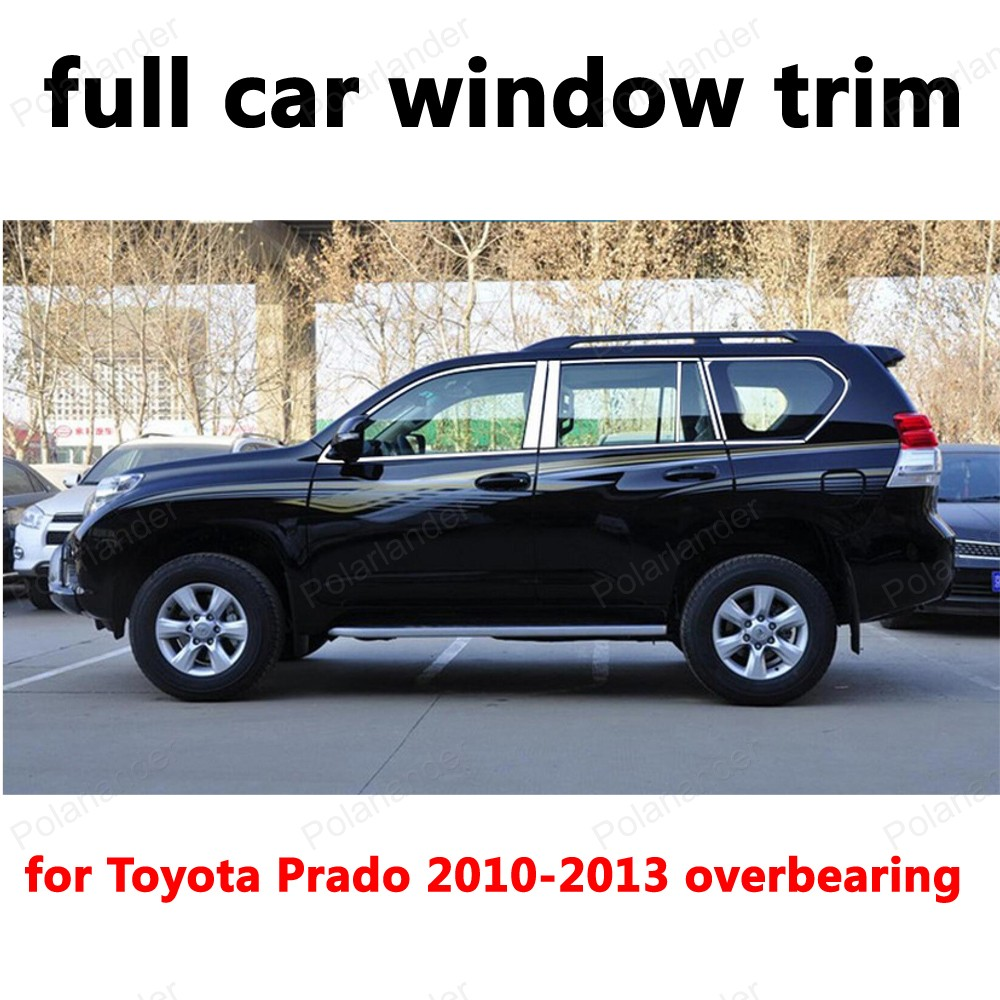full Window Trim Stainless Steel Decoration Strips Car styling for T oyota Prado 2010 2013 overbearing|window trim|stainless steel trims|car window trim - title=