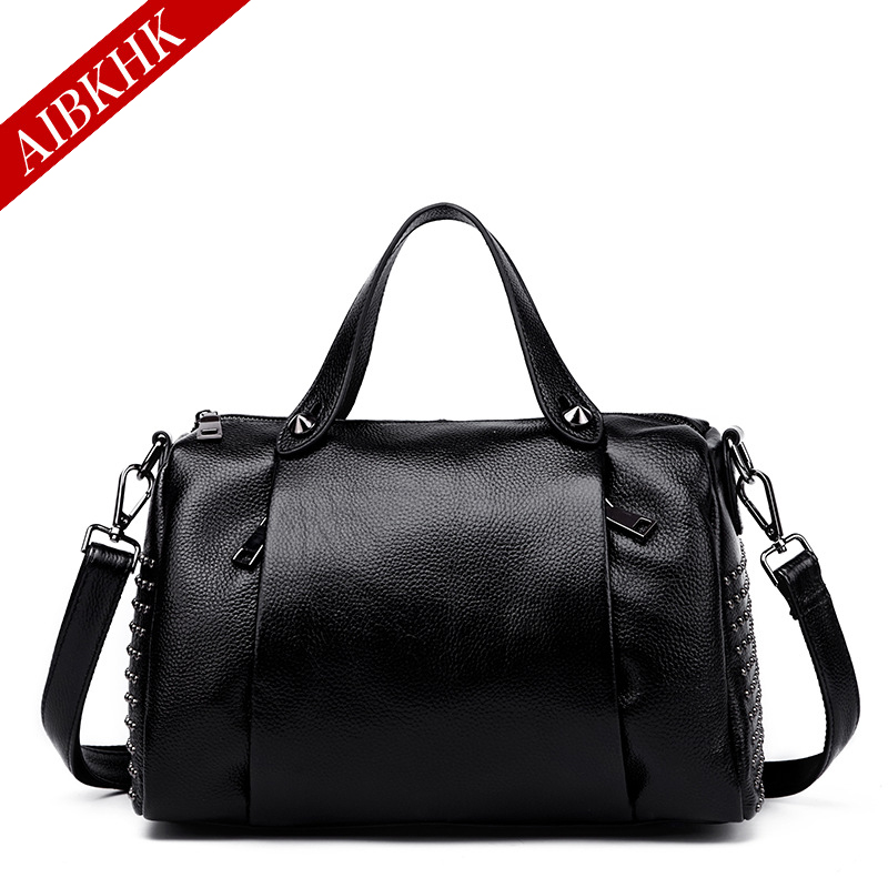 100% Genuine Leather New Fashion Women Handbags  High QualityLadies Shoulder Bags Female Girl Rivet Real Natural Leather Bag 100% genuine leather women bags luxury serpentine real leather women handbag new fashion messenger shoulder bag female totes 3