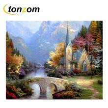 RIHE Mountain Cottage Diy Painting By Numbers River Oil Cuadros Decoracion Acrylic Paint On Canvas Modern Wall Art