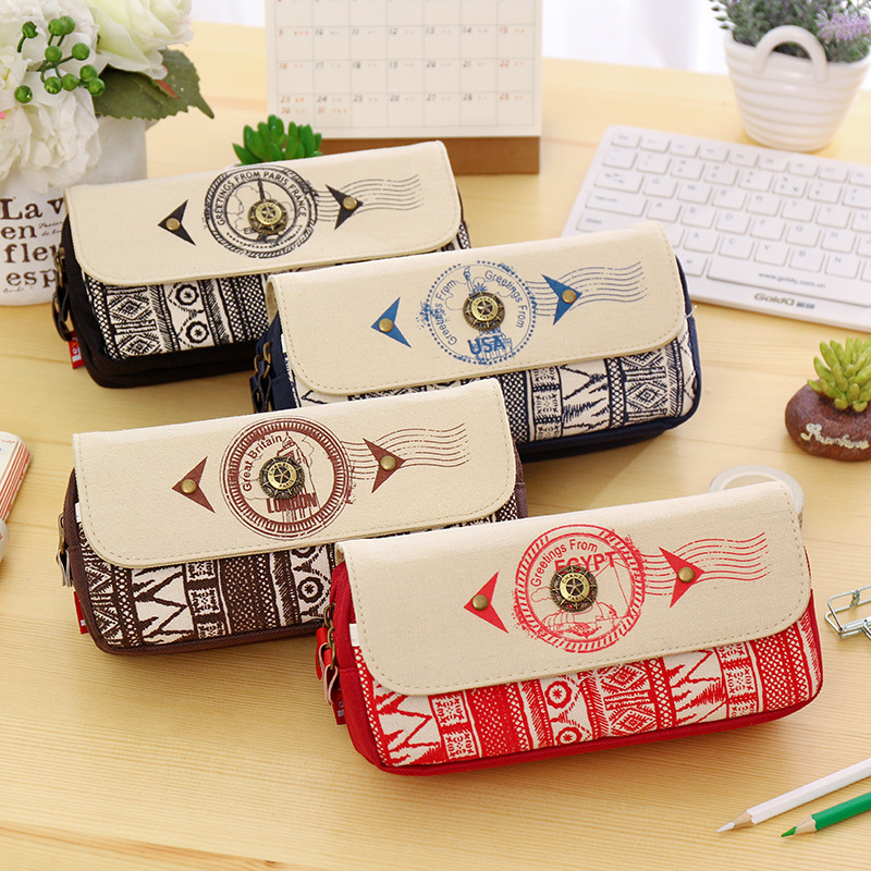 Vintage anchor pencil case big capacity pencil case double zipper pen box for boy school supplies stationery pencil bag купить