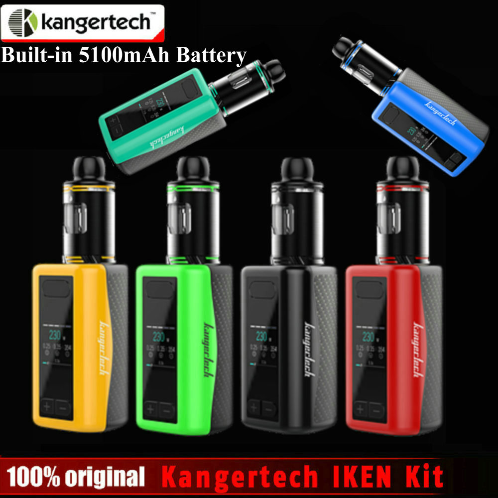 Original Kangertech IKEN Kit 1.54 inch TFT Display Screen 4ml Tank 230W Box Mod Built-in 5100 mAh battery e Cigarette Vape Mod original ijoy captain pd1865 tc 225w kit captain tank 4ml atomizer no 18650 battery captain pd1865 mod e cigarette vaping kit