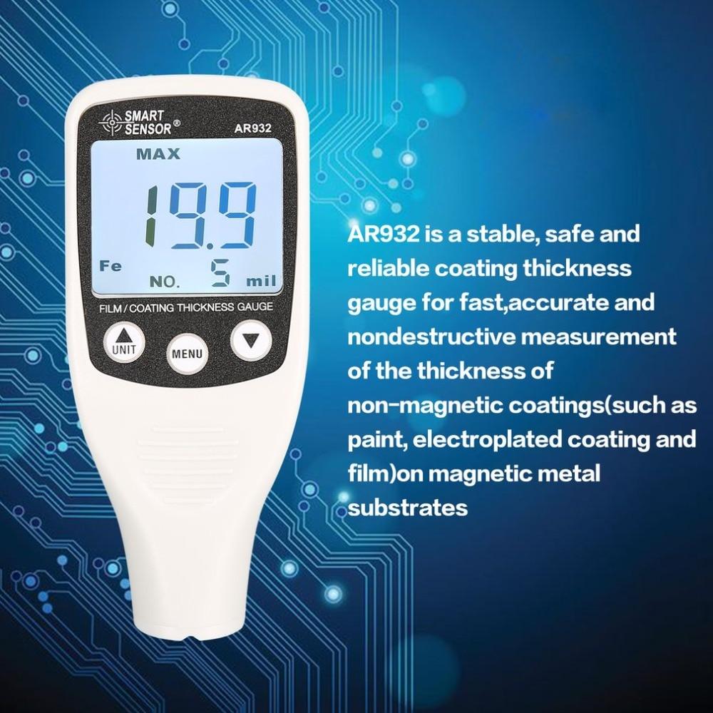 Smart Sensor AR932 0 1700micron Mini Digital Coating Film Iron Thickness Gauge Car Meter Paint Painting Tester Handheld Testing