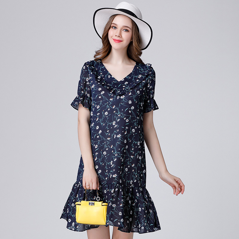 2017 fashion floral print women V neck ruffles summer dresses plus size butterfly sleeves women pleated casual dress royal blue