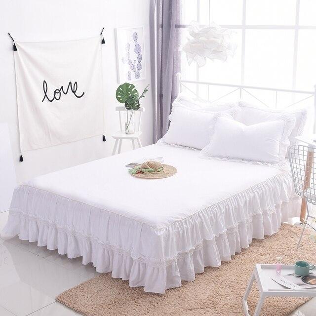 Bianco principessa pizzo copriletto gonna letto 1 3 pz volant biancheria da letto lenzuolo di - Gonna letto matrimoniale ...