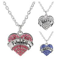 5PCS Lot Clear Pink Blue Rhinestones Engraved Faith Pendant Necklace Fashion Jewelrys For Women Gifts