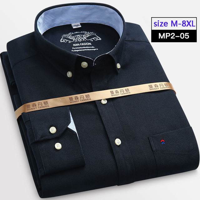 new arrival shirt male long-sleeve Oxford silk clothes cotton men's fashion casual Plus size S - 2XL 3XL 4XL 5XL 6XL 7XL 8XL