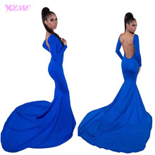 2017 New Arrival Sexy Backless Prom font b Dresses b font Mermaid Long Sleeves Spandex Boat