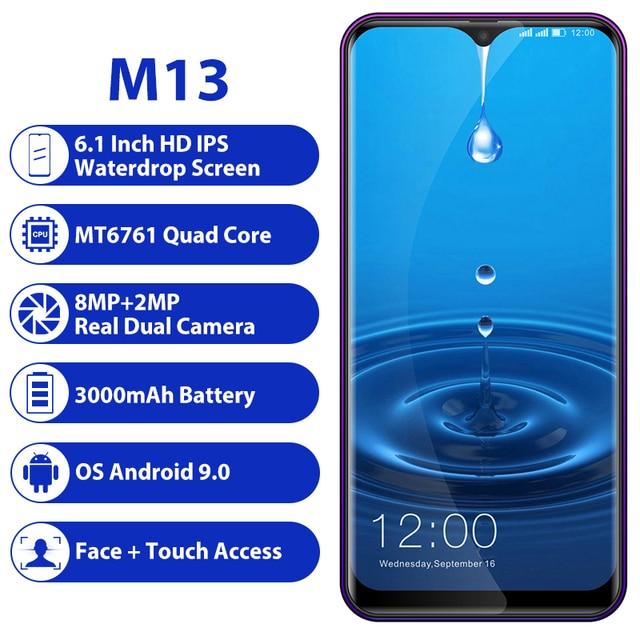 """LEAGOO M13 4GB pamięci RAM 32GB ROM telefon komórkowy Android 9.0 6.1 """"Waterdrop ekran MTK6761 czterordzeniowy linii papilarnych face id 4G Smartphone"""