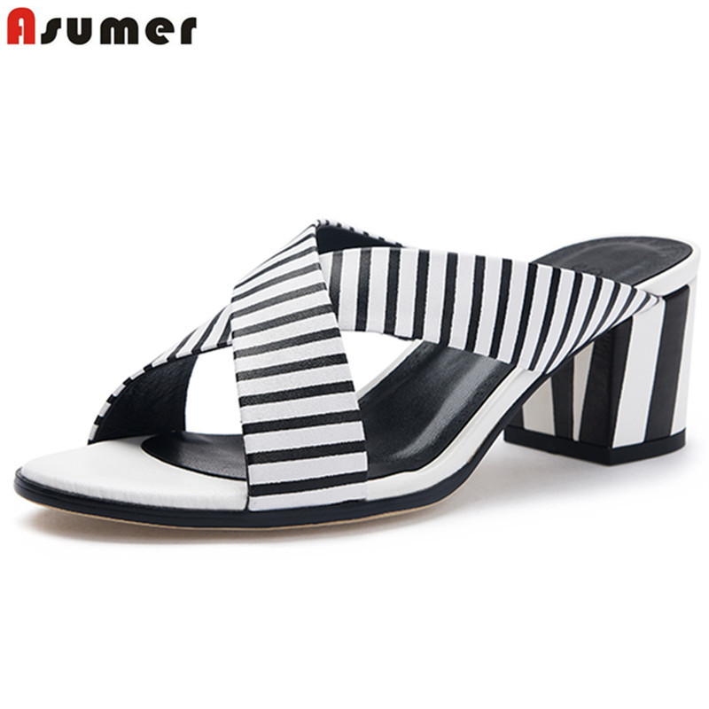 ASUMER Genuine leather shoes black white stripe square high heels sandals women open toe slip on fashion summer shoes woman
