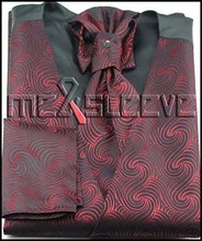 hot sale  new arrive  formal wear red swirl  waistcoat (vest+ascot tie+cuflink+handkerchief)