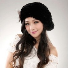 2016 Lady Real Knitted Rex Rabbit Fur Caps With Ball Flowers Hats Black white Lovely fashion european style Earmuff Fur Headwear
