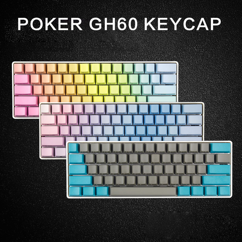 Free shipping side printed 60 OEM profile thick pbt keycaps mixed color for mx switch mechanical keyboard GH60 POKER 61