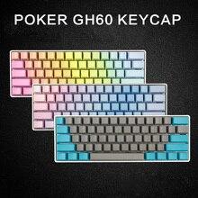 Frete grátis lado impresso 60 oem perfil grosso pbt keycaps cor misturada para mx switch teclado mecânico gh60 poker 61