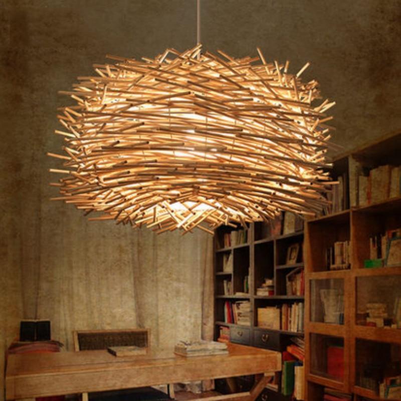 Işıklar ve Aydınlatma'ten Kolye ışıkları'de Rattan avize büyük kuş yuvası el dokuma bahçe yemek odası lamba yatak odası lambası çalışma lambası ZP419172 title=