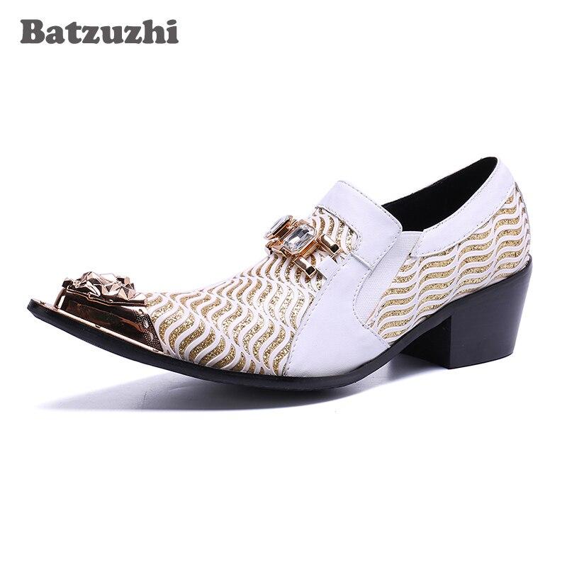Branco Vestem Party amp; Homens Sapatas Se Wedding Shoes Formais Hombre 5 Sapatos Centímetros Bicudos Batzuzhi Zapatos White Couro 6 Genuína De Saltos Dos UOSxBqT