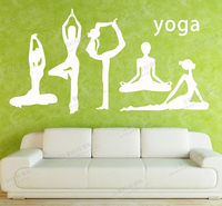 Yoga Vinyl Wall Decal Yoga Girls Yoga Pose Collection Mural Wall Sticker Fitness Yoga Room Bedroom