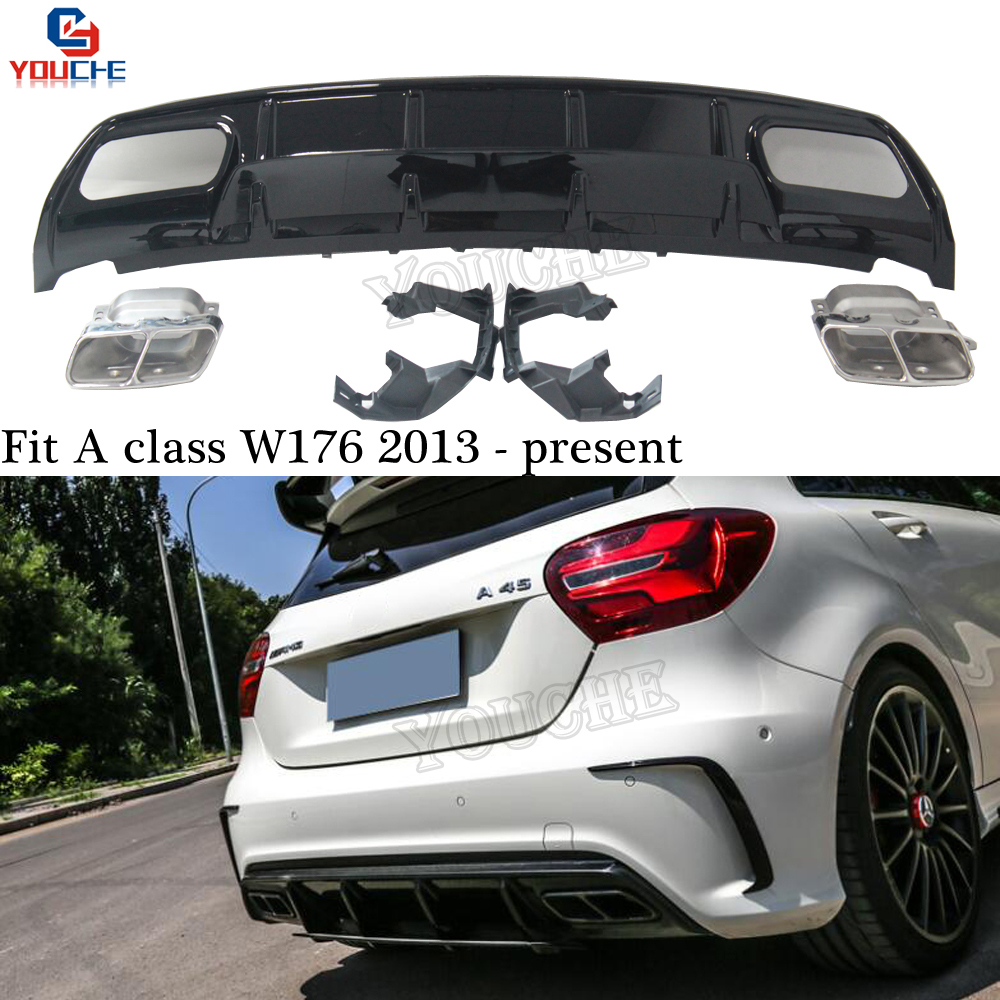 A45 Black Rear Diffuser + 4 outlet Exhaust Tips End Pipes for Mercedes A Class W176 2013 + A180 A200 A250 with AMG Package|Bumpers| |  - title=