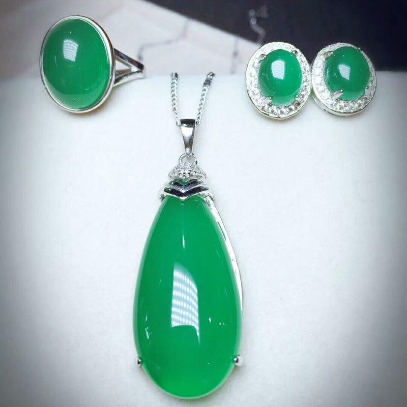 Yu Xin Yuan Fine 925 Mosaic Natural Green Water Drop Chalcedony Pendant Ring Earrings Jewelry Suit