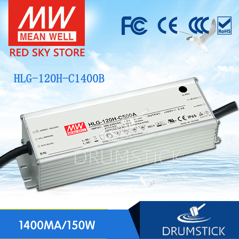 Hot sale MEAN WELL original HLG-120H-C1400B 54V ~ 108V 1400mA meanwell HLG-120H-C 151.2W LED Driver Power Supply B Type [nc b] mean well original hlg 120h 54a 54v 2 3a meanwell hlg 120h 54v 124 2w single output led driver power supply a type