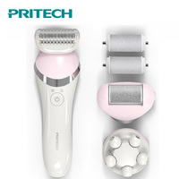 2018 Pritech 3 In 1 Electric Women Shaver Female Shaving Machine Rechargeable Body Hair Remover Callus Remover Sets Body Massage