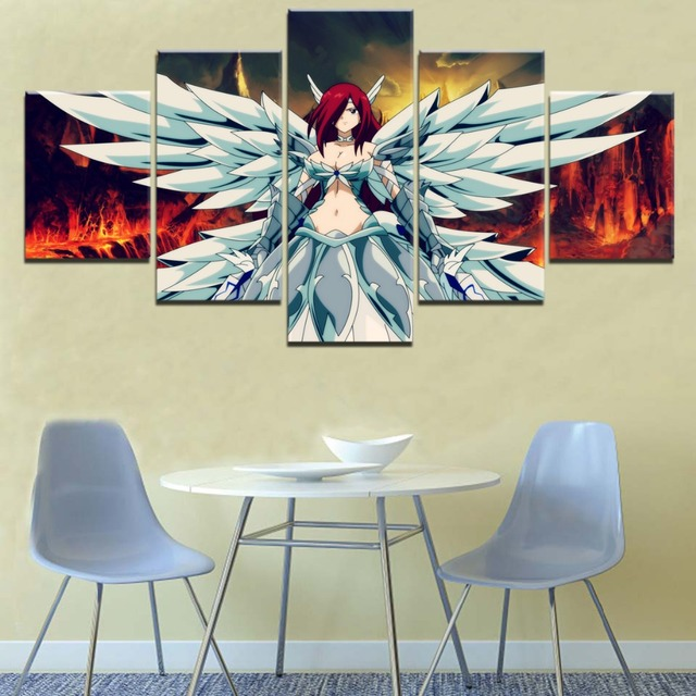 5 Pieces Erza Scarlet Fairy Tail Canvas Print Painting
