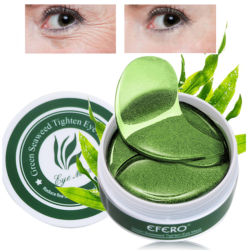 efero 60pcs Green Collagen Crystal Eye Mask Face Care Patch Bag Removal Dark Circles Moisturizing Gel Pads