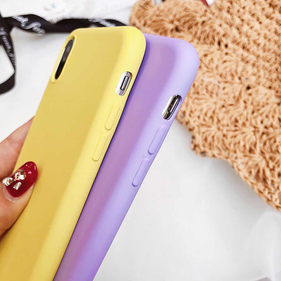 ماتي الهاتف حقيبة لهاتف أي فون 7 زائد 6 6 s 8X5 5 s SE XR XS ماكس بسيطة بلون سامسونج لينة TPU حالات الحلوى اللون الغطاء الخلفي
