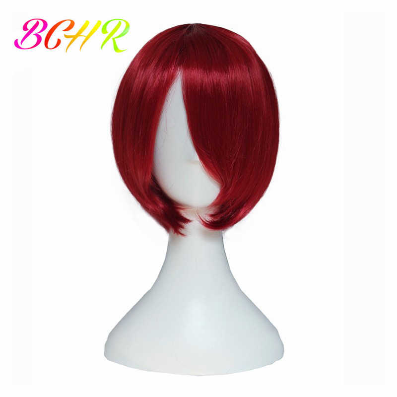 BCHR Cosplay Pruiken Voor Vrouwen Rood Geel Blauw Blonde Korte Bob Pruiken Met Pony Rechte Synthetische Pruik voor Kostuum Haar