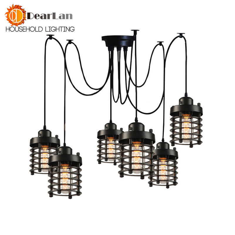 American Vintage Pendant Light Cafe Creative Glass Pendant Light Bar Lamp Clothing Store Fixtures With 1 Single Head/6 Heads купить дешево онлайн