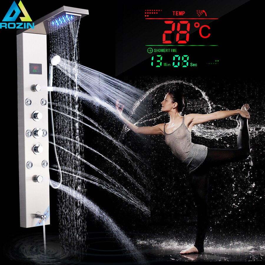 Luxo LEVOU Chuveiro Coluna Torneira de Níquel Escovado Painel Do Chuveiro de Massagem SPA Jet Torre Tela de Toque Digital de Temperatura Torneira Do Banheiro