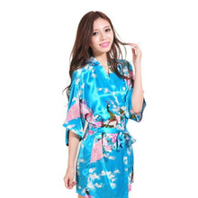 2015 Short Style Woman Peacock Printed Silk Kimono Robes ,Wedding Party Bridesmaid Robe S/M/L/XL/XXL/XXL purple/black/blue/white(China)