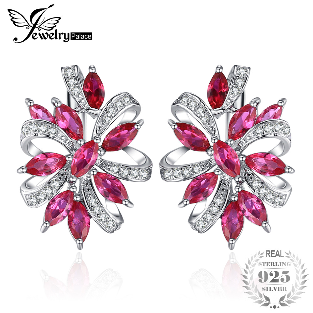 JewelryPalace Unique Design 2.1ct Red Created Ruby Clip On Earrings 100% Real 925 Sterling Silver Brand New Jewelry Accessories