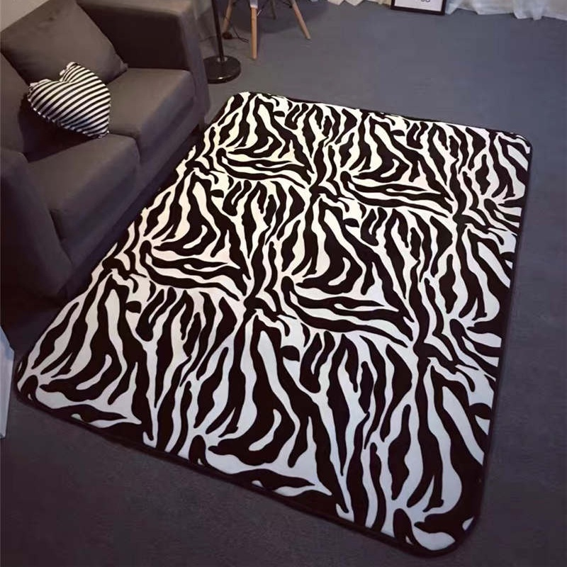 Black White Zebra Pattern Living Room Carpet Modern Coffee Table Mats Bedroom Bedside Blanket Nes Fashion Rug Free Shipping