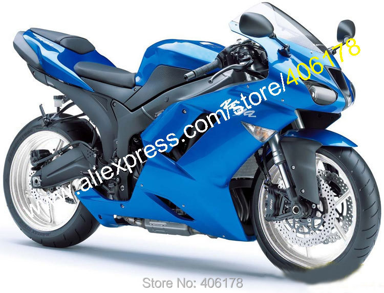 Hot Sales,For Kawasaki ZX-6R 07/08 Ninja zx636 ZX 6R 636 ZX6R 2007/2008 All Blue Body works ABS Fairing set (Injection molding)