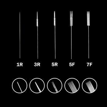 500pcs 1RL/3RL/5RL/5F/7F Sterilized Disposable Permanent Makeup Needles Tattoo Needle for Eyebrow Giant sun tattoo kit 0.35X50MM 50pcs 1rl 3rl 5rl 5f 7f needle tip needle caps for tattoo pen machine microblading needles permanent makeup eyebrow lip