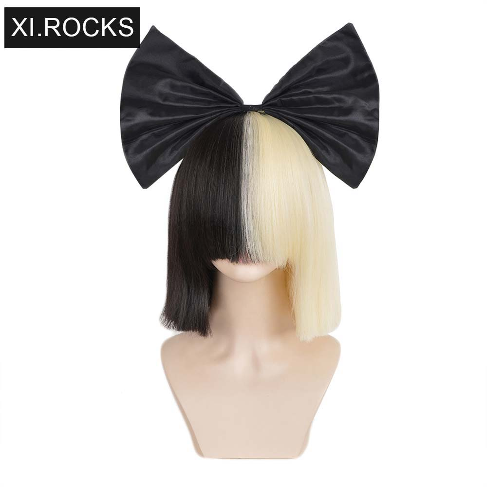 3494 Xi.rocks Short Ombre Hair Wigs For Women Straight SIA Wig Cosplay Black Blonde Bob Wigs with bangs Synthetic false hairSynthetic None-Lace  Wigs   -