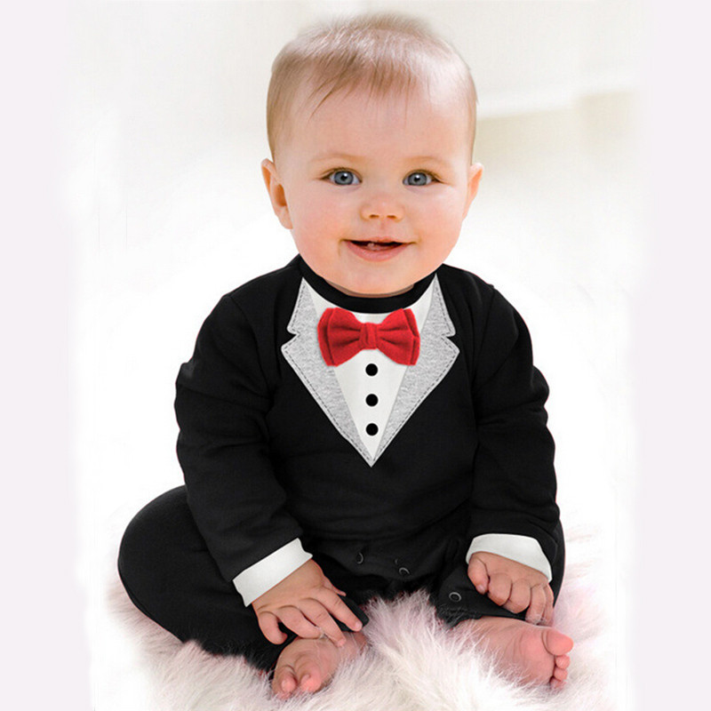 Newborn Baby Kids Wedding Brithday Party Costume Rompers Children Infant Boys Clothes Gentleman Bowtie Toddler Jumpsuit Clothing