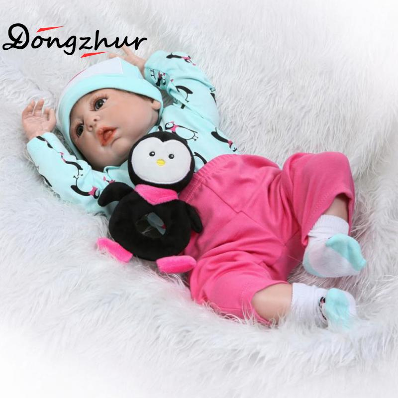 Silicone Newborn Dolls Cute Full Plastic Penguin Baby Solid Silicone Reborn Babies 57cm Korean Doll Reborn Silicone Dolls Reborn 10pcs lot cute magnetic pacifiers for 18 20 22 23inch reborn baby dolls newborn babies dolls supplies dummy pacifier