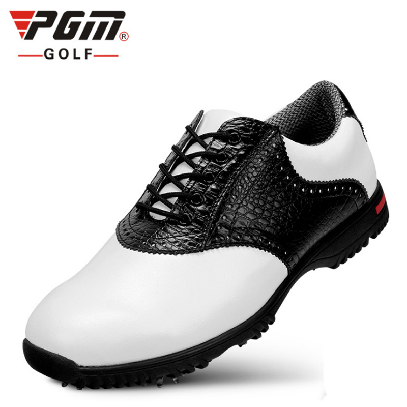 PGM Men Golf Shoes Genuine Leather Professional Sneaker Breathable Waterproof Men Golf Sport Shoes Leather Athletic Golf Shoes genuine pgm golf shoes men waterproof xz937 rubber cotton fabric eva breathable beginner white zapatos de golf deporte golf shoe