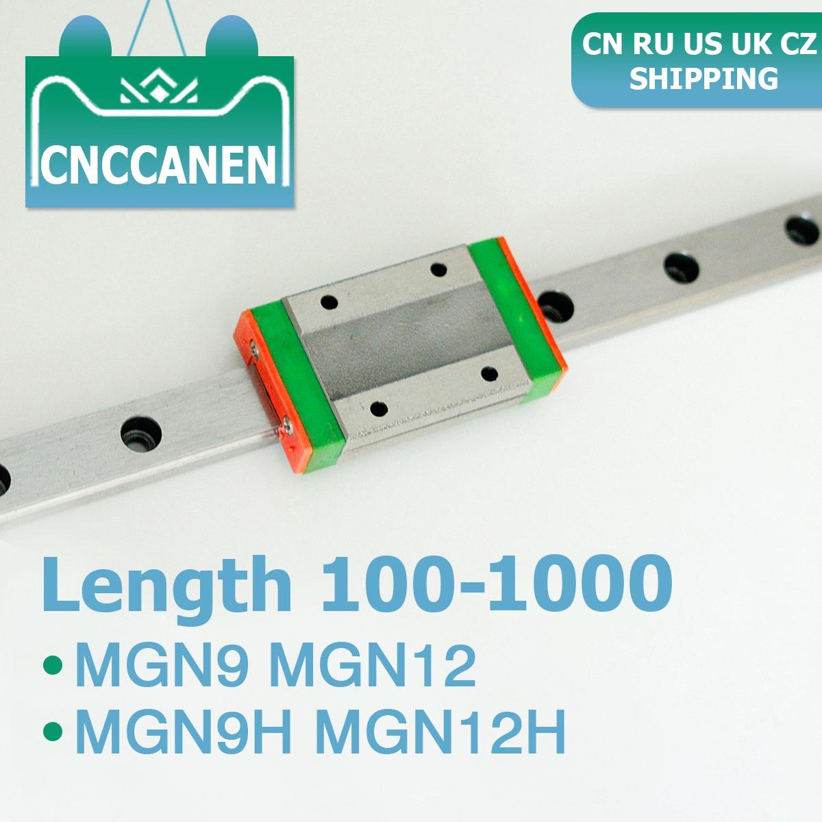 Cnc Lineaire Geleiderail MGN12 MGN9 MGN9H MGN12H 100-1000 Mm Mini Lineaire Geleiderail Slide Blok Voor 3D printer Ru Uk Ons Cz Verzending