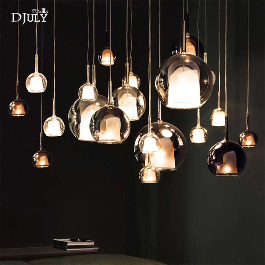 Image 4 - nordic bottle colored glass led pendant lights designer hanging lamp living room bar villa luminaire home deco kitchen fixtures-in Pendant Lights from Lights & Lighting