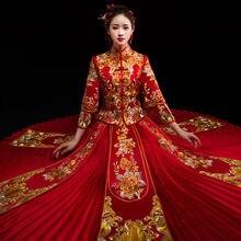 95be96c1f29c Cinese Tradizionale Abito Da Sposa Cheongsam Dragon Phoenix Abbigliamento  Qipao Ricamo di Strass Magliette e camicette Per Donna.