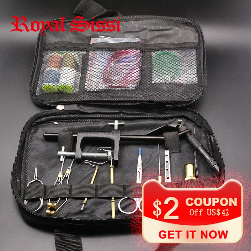 Royal Sissi full set Fly Tying Tools Kit in Portable Bag include fly tying Vise bobbin holders plier hair stacker whip finishers