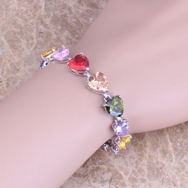 Heart Shaped Multicolor Red Garnet 925 Sterling Silver Link Chain Bracelet 7 inch For Women Free S0281