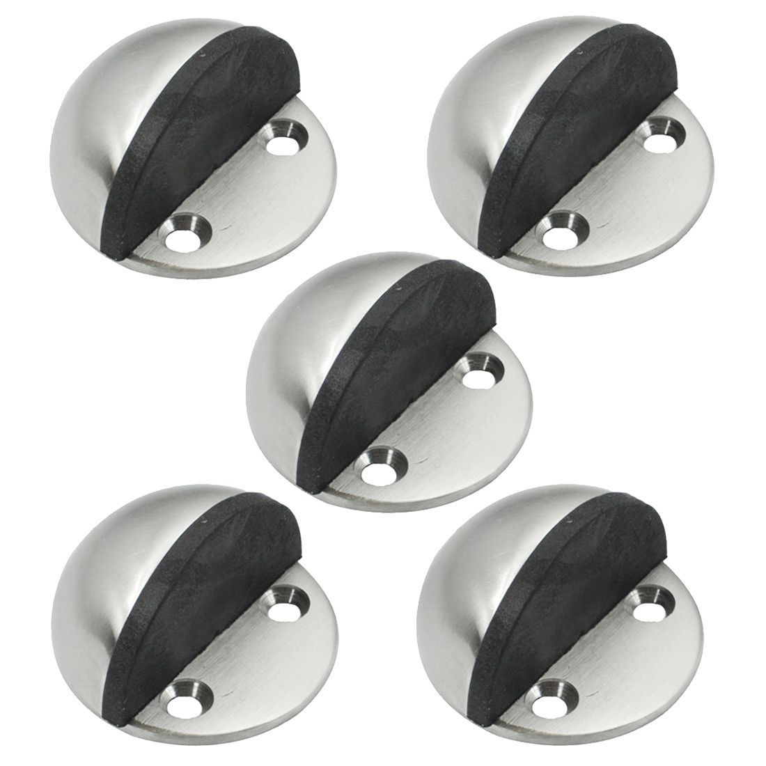 цена на 5Pcs Stainless Steel Floor Door Stopper Stops Screw Mount Pack Brushed Door Holders Catch Floor Mounted Door stop Door Hardware