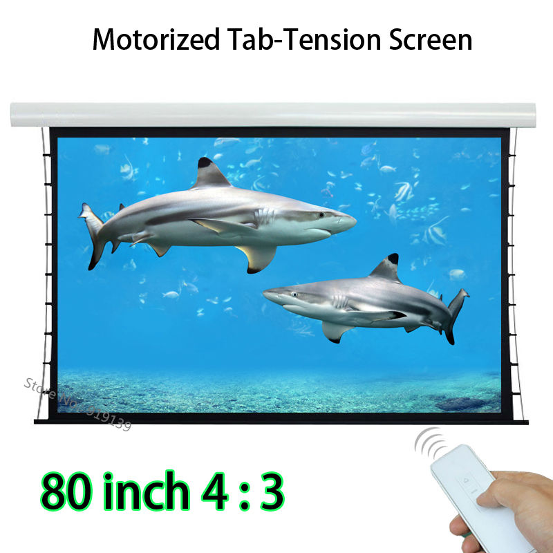 Multimedia Cinema Screen 80inch 4:3 Tab Tensioned Projection Screens Built  In Wireless Remote Control For Education low price 92 inch flat fixed projector screen diy 4 black velevt frames 16 9 format projection for cinema theater office room