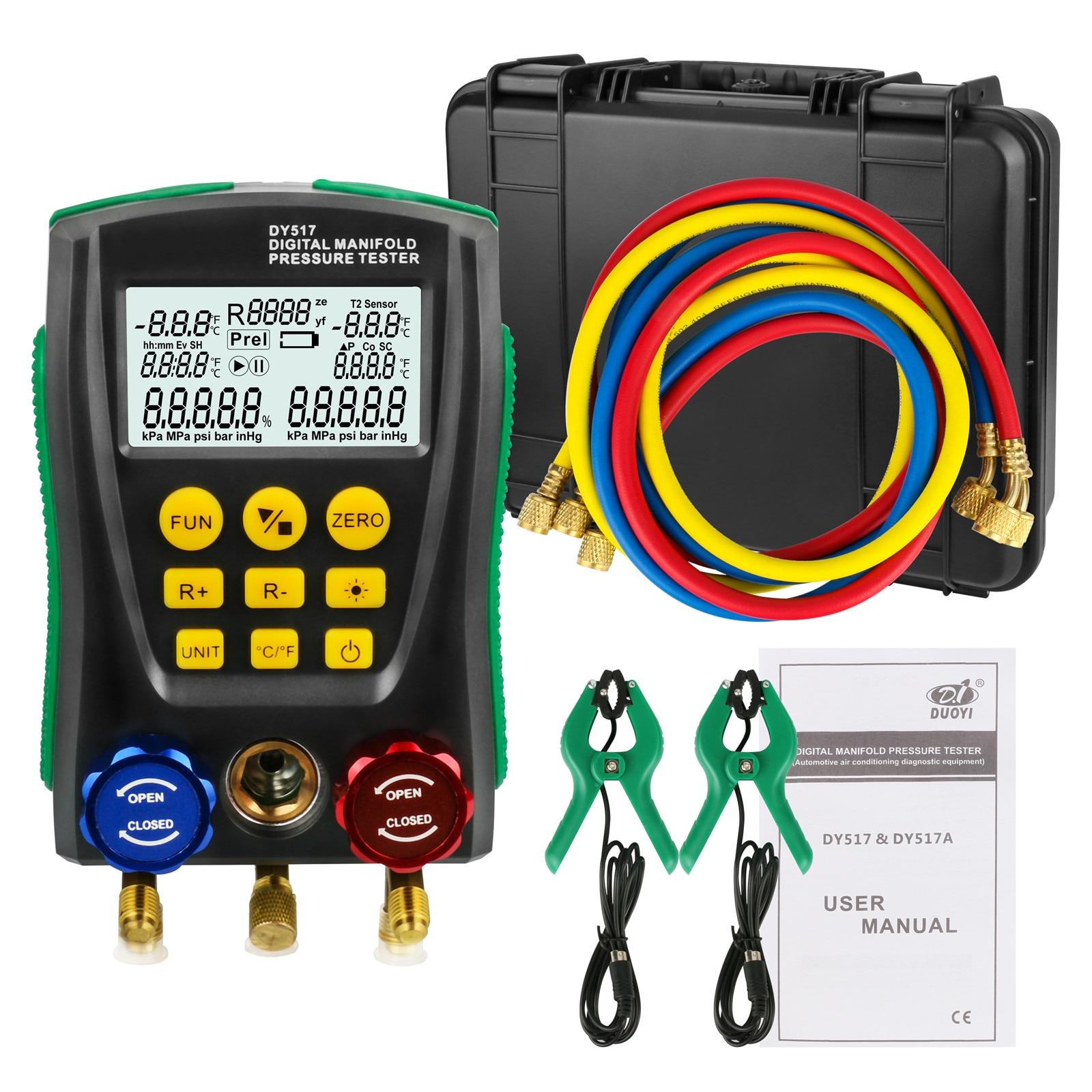DY517A Refrigeration Digital Manifold Gauge Meter Refrigerant Inspection HVAC Vacuum Pressure Temperature Tester 2-Way Valve