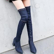 Blue Stretch Botas de tacón alto de las mujeres sobre la rodilla punta Toe Thigh Botas altas 9A0Z30Cc