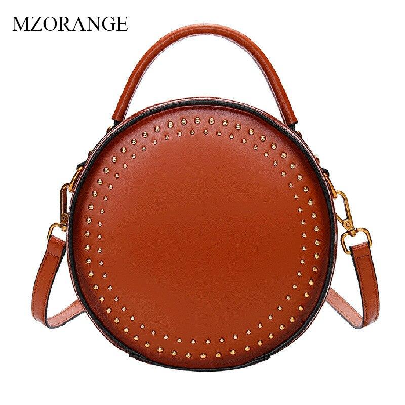 MZORANGE Women Bag 2018 New Genuine Leather Cute Rivet Circular Handbag Vintage Mini Lady Shoulder Bag Small Crossbody Bag